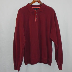 Orvis Long Sleeve Polo. Dark Red, Large